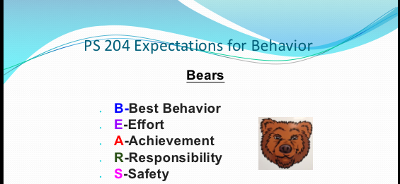 PS 204 Expectations for Behavior